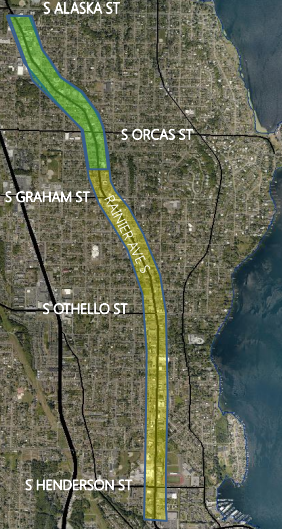 Option 1b, showing protected bike lanes between Columbia and Hillman City
