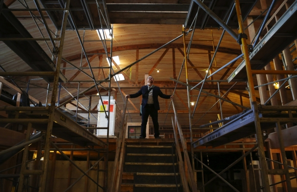 Robert Sindelar, managing partner of Third Place Books in Lake Forest Park, is overseeing construction of Third Place's new bookstore in Seward Park, Mon., Feb. 8, 2016, in Seattle.